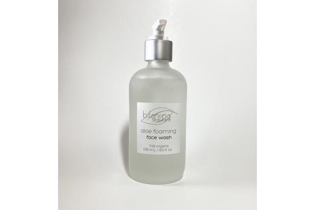 Organic Aloe Gel Foaming Face Wash Glass Bottle